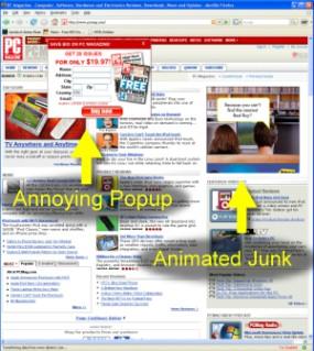 Pop-ups and flash ads