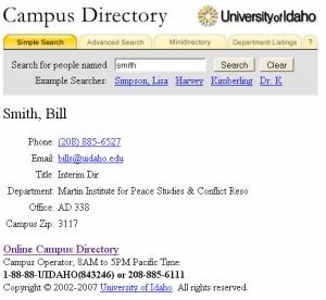 University of Idaho web directory
