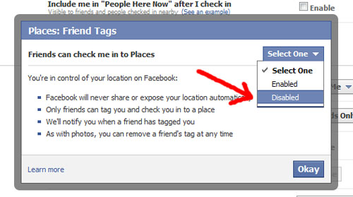 2. Disable the ability of friends to check you in