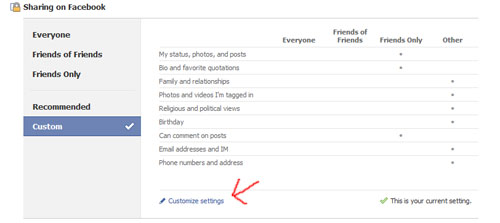 In privacy settings, find CUSTOMIZE SETTINGS