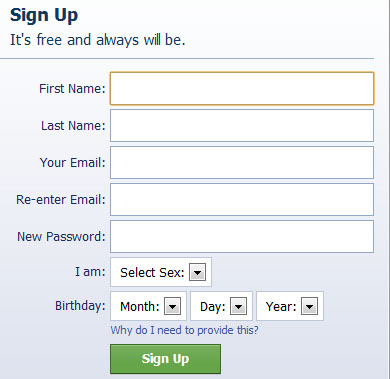 A typical signup form