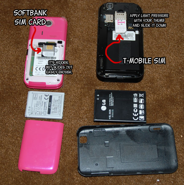 SIM cards should be behind the back cover and usually require that you pull the battery as well.