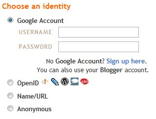 Example of a site with login options