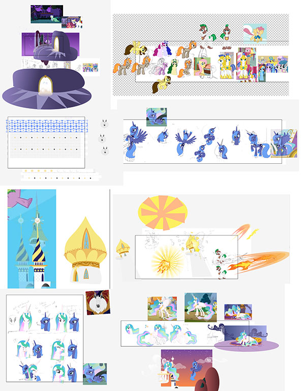 Here's one of the vector art files for a comic. It shows many ponies and a few screen clips from the actual show that I use as reference for the pose and sizing (click for full size)
