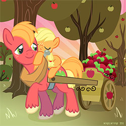 Applejack and her big brother (<a href=http://mirelmture.deviantart.com/art/Big-Brother-Macintosh-211479801>Source</a>)